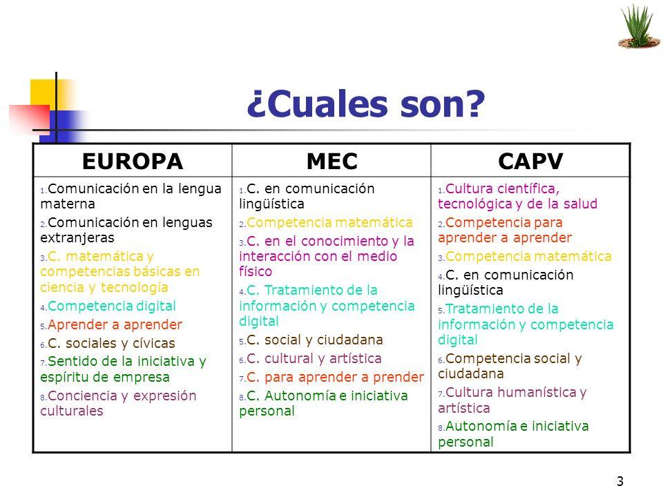 ¿Cuales son EUROPA MEC CAPV Comunicación en la lengua materna