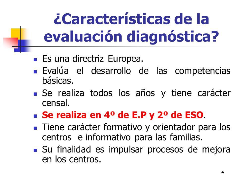¿Características de la evaluación diagnóstica