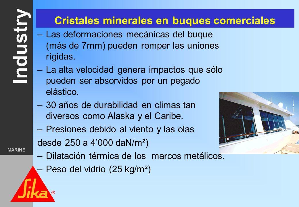 Cristales minerales en buques comerciales
