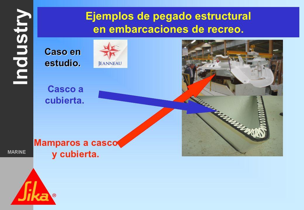 Ejemplos de pegado estructural en embarcaciones de recreo.