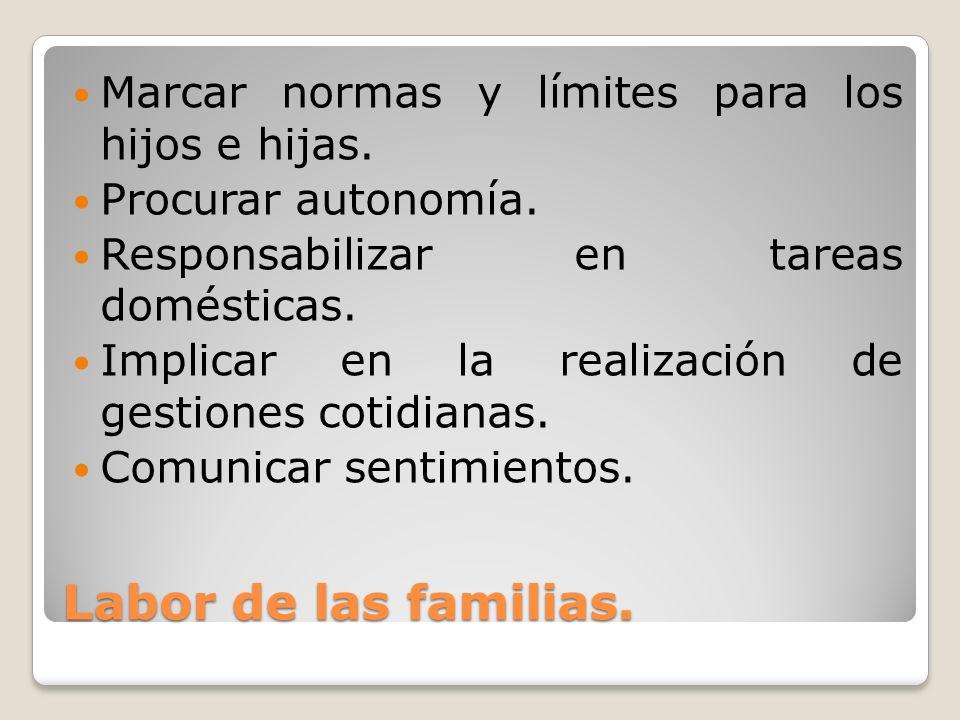 Labor de las familias. Marcar normas y límites para los hijos e hijas.