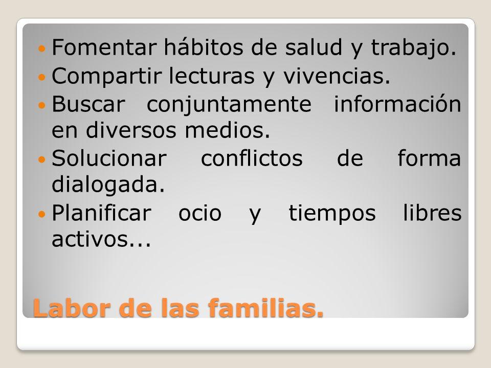 Labor de las familias. Fomentar hábitos de salud y trabajo.