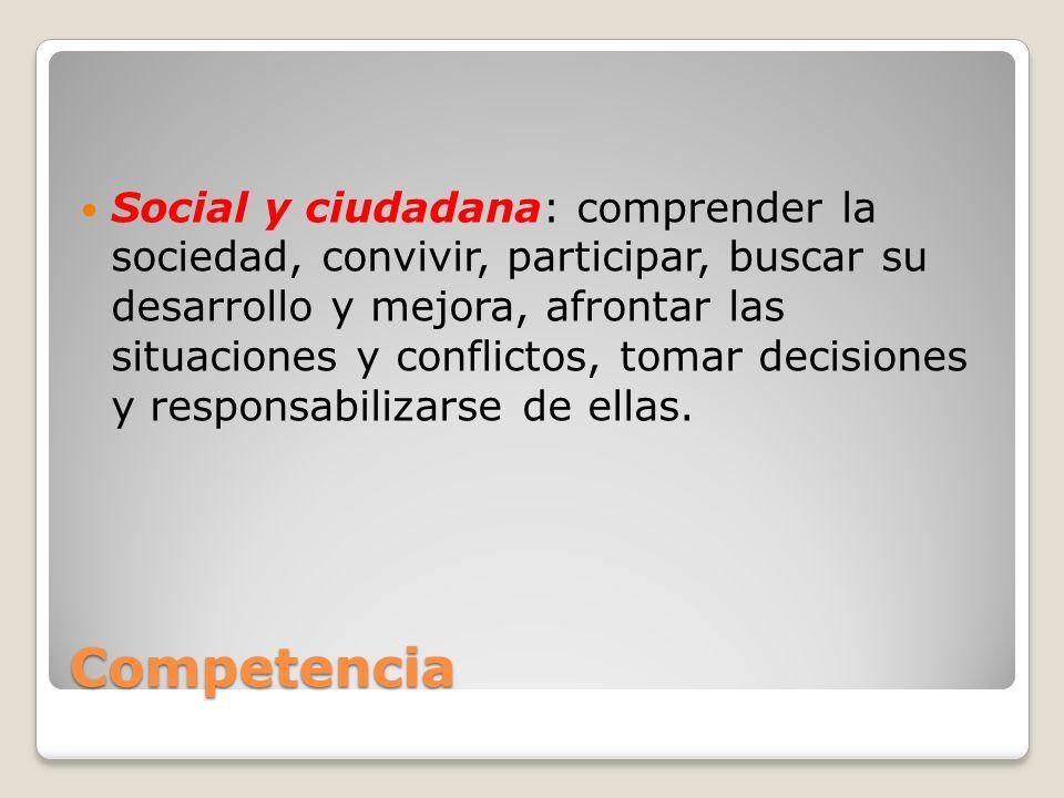 Social y ciudadana: comprender la sociedad, convivir, participar, buscar su desarrollo y mejora, afrontar las situaciones y conflictos, tomar decisiones y responsabilizarse de ellas.