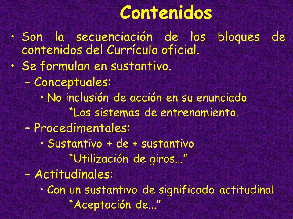 Contenidos Son la secuenciación de los bloques de contenidos del Currículo oficial. Se formulan en sustantivo.