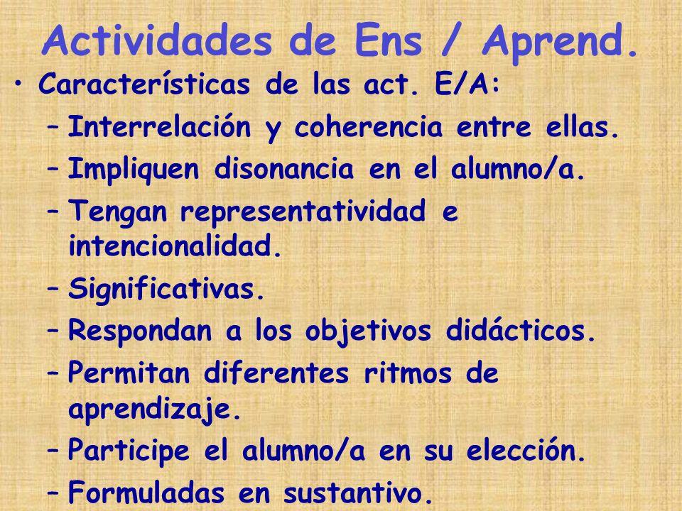 Actividades de Ens / Aprend.