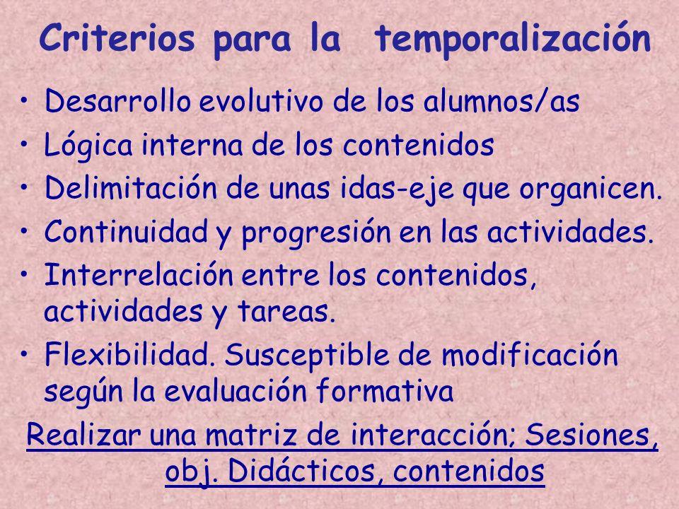 Criterios para la temporalización