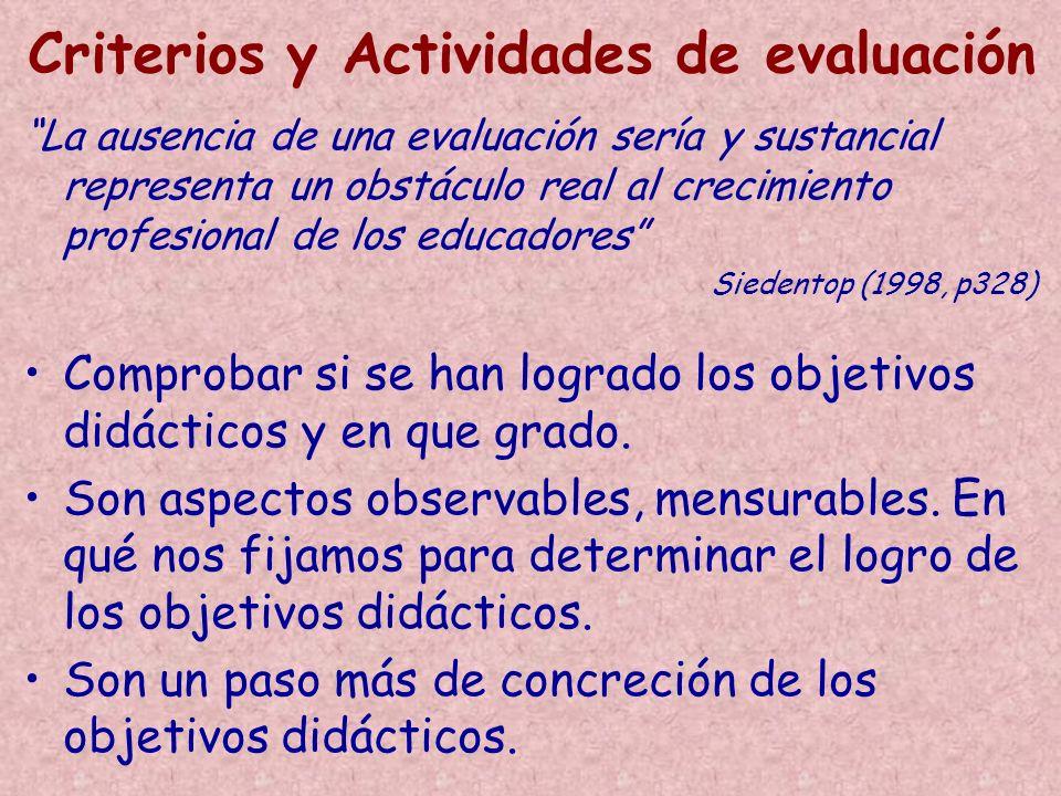 Criterios y Actividades de evaluación