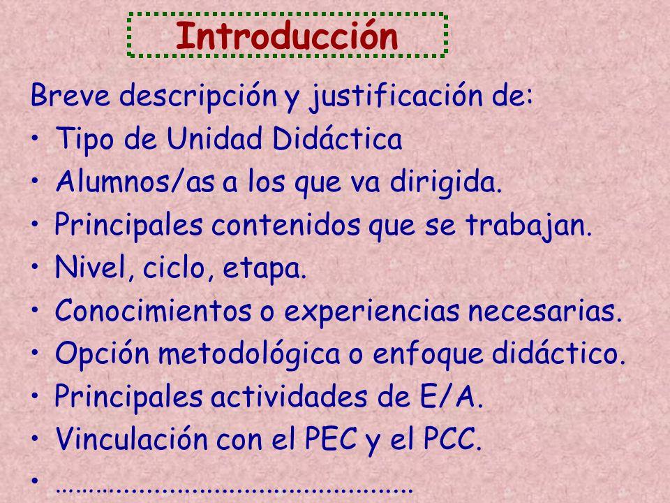 Introducción Breve descripción y justificación de: