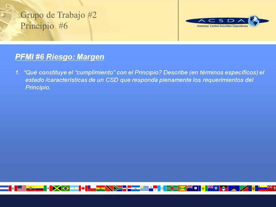 Grupo de Trabajo #2 Principio #6 PFMI #6 Riesgo: Margen