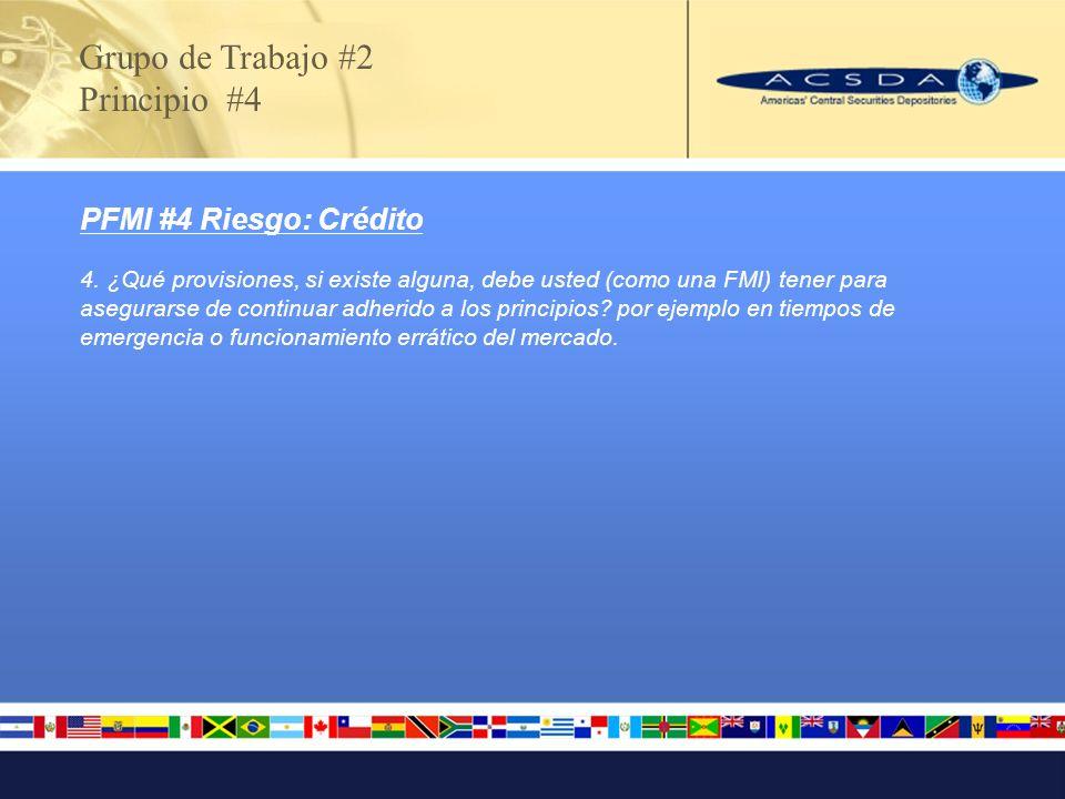 Grupo de Trabajo #2 Principio #4 PFMI #4 Riesgo: Crédito