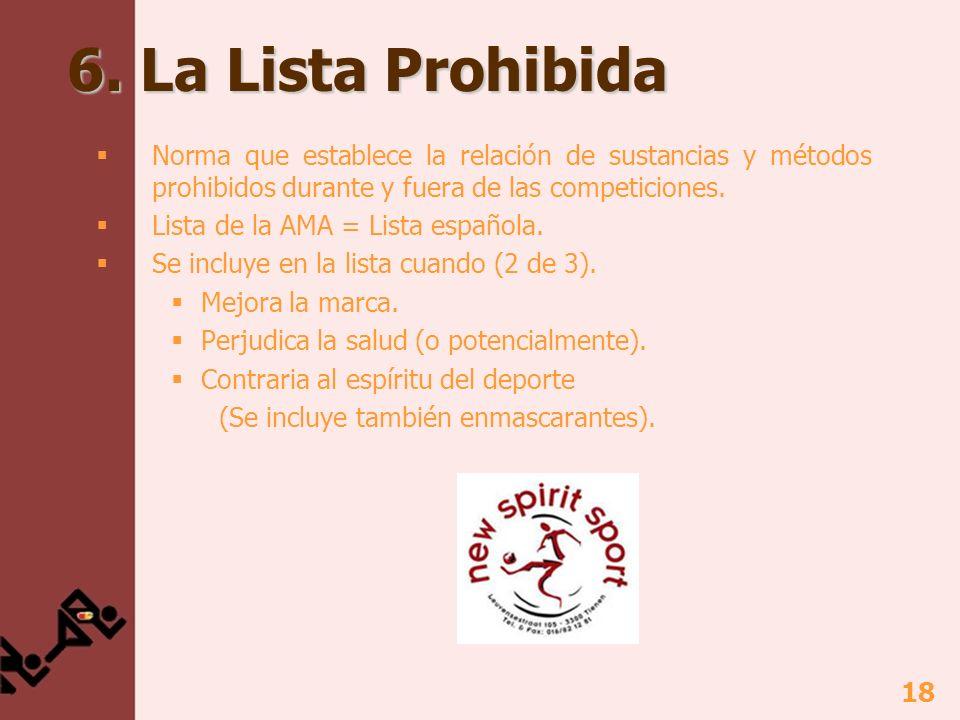 6. La Lista ProhibidaNorma que establece la relación de sustancias y métodos prohibidos durante y fuera de las competiciones.