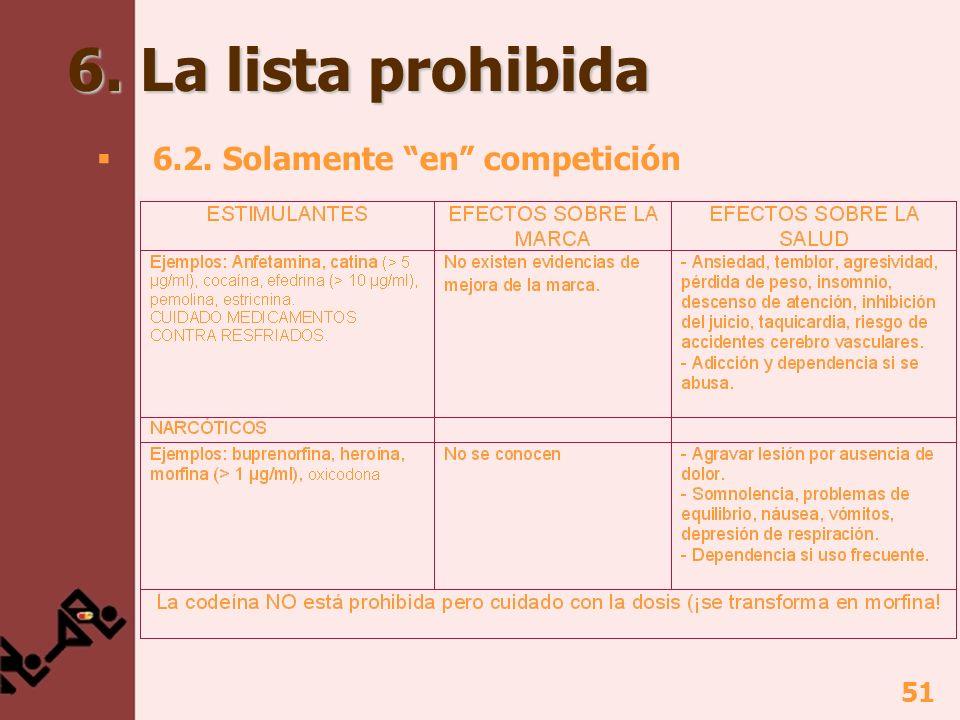 6. La lista prohibida 6.2. Solamente en competición