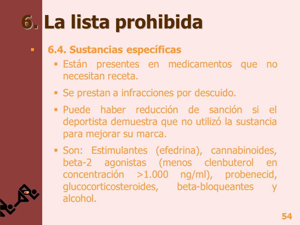 6. La lista prohibida 6.4. Sustancias específicas