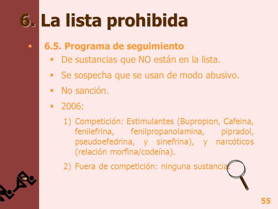 6. La lista prohibida 6.5. Programa de seguimiento