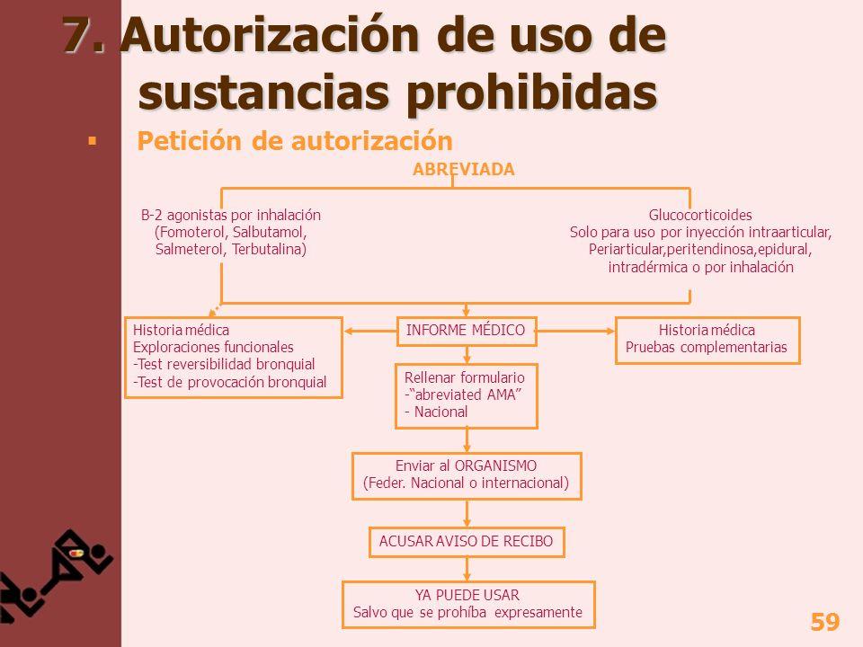 7. Autorización de uso de sustancias prohibidas