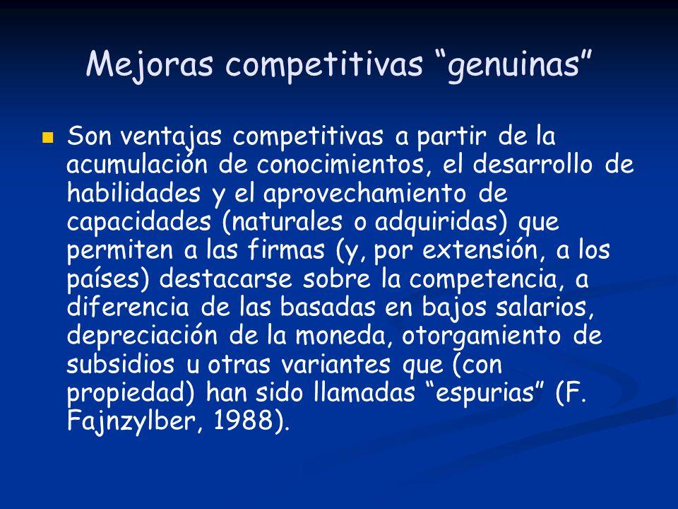 Mejoras competitivas genuinas