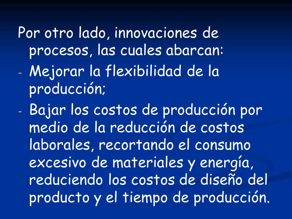 Por otro lado, innovaciones de procesos, las cuales abarcan: