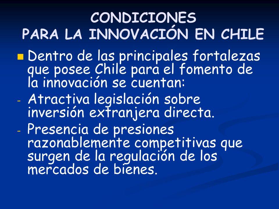 CONDICIONES PARA LA INNOVACIÓN EN CHILE