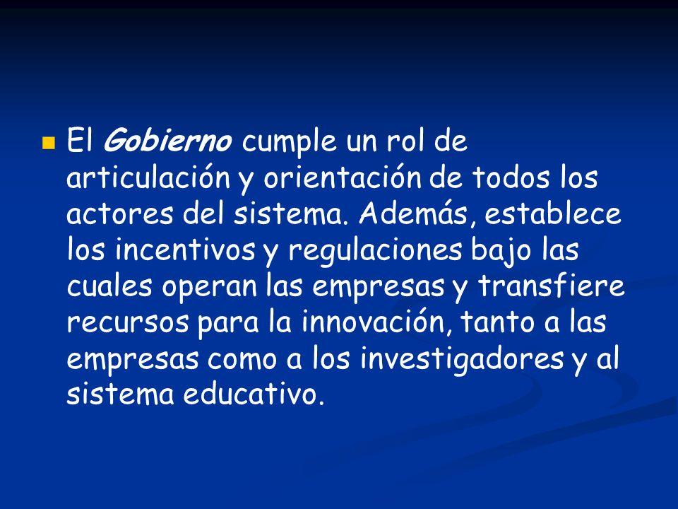 El Gobierno cumple un rol de articulación y orientación de todos los actores del sistema.