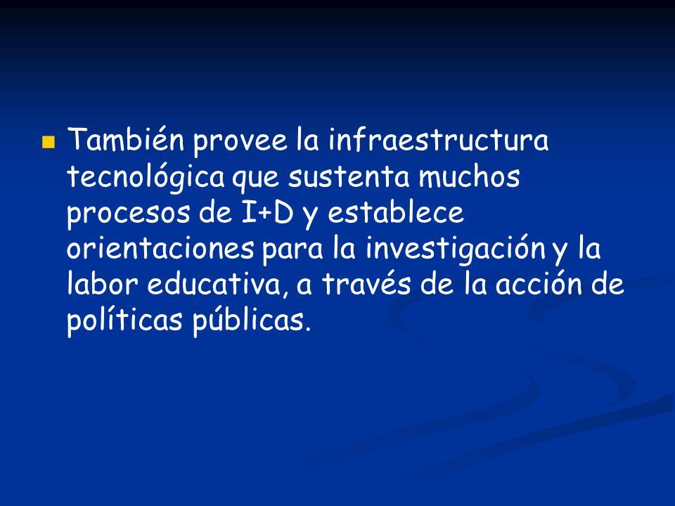 También provee la infraestructura tecnológica que sustenta muchos procesos de I+D y establece orientaciones para la investigación y la labor educativa, a través de la acción de políticas públicas.