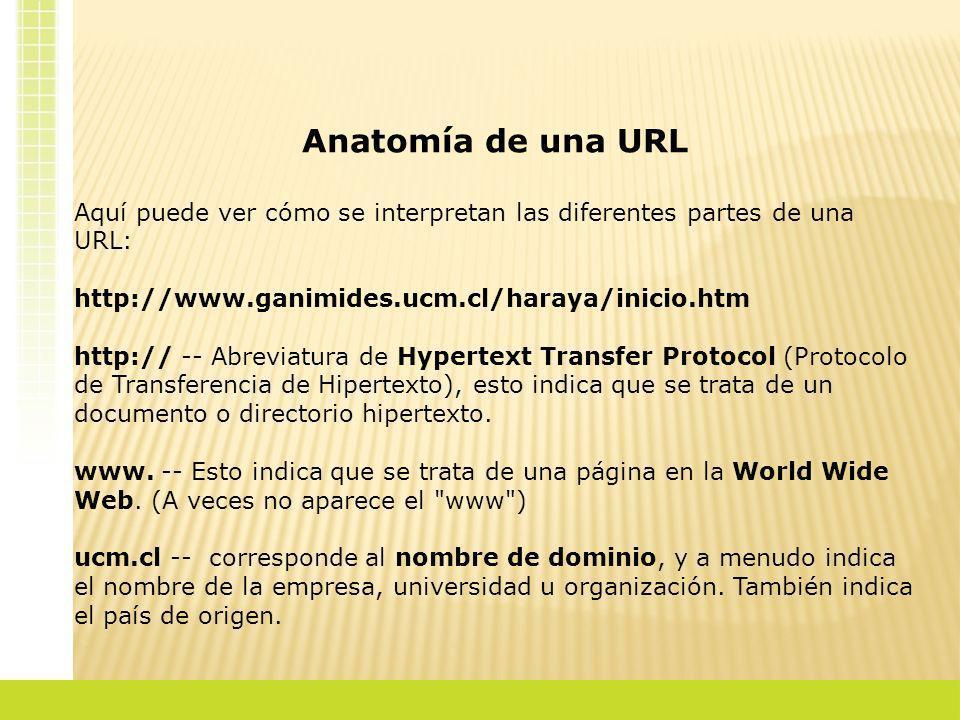 Anatomía de una URLAquí puede ver cómo se interpretan las diferentes partes de una URL: http://www.ganimides.ucm.cl/haraya/inicio.htm.