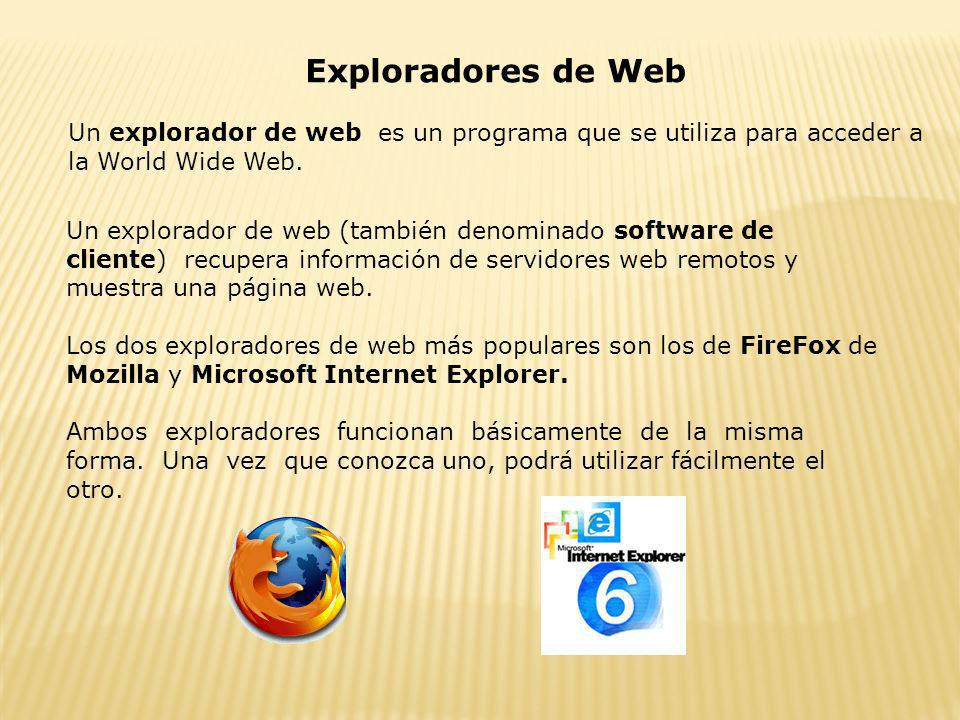 Exploradores de WebUn explorador de web es un programa que se utiliza para acceder a la World Wide Web.