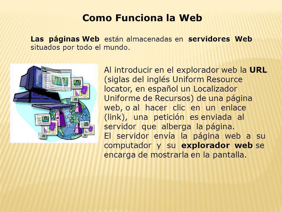 Como Funciona la WebLas páginas Web están almacenadas en servidores Web situados por todo el mundo.