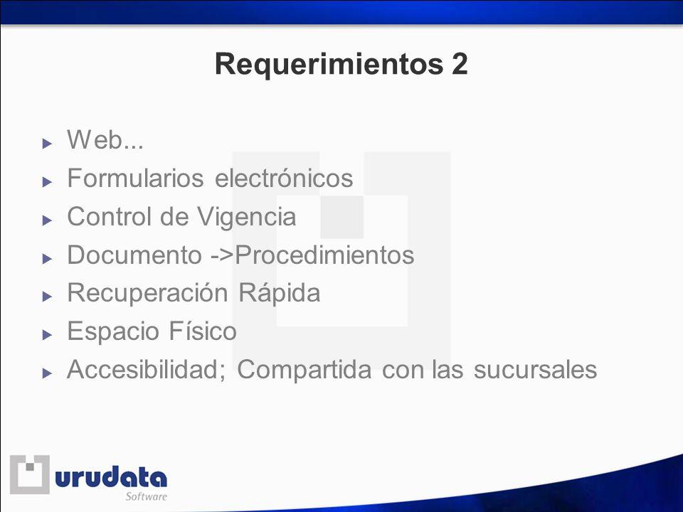 Requerimientos 2 Web... Formularios electrónicos Control de Vigencia