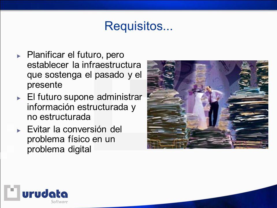 Requisitos... Planificar el futuro, pero establecer la infraestructura que sostenga el pasado y el presente.