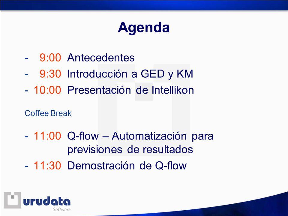 Agenda - 9:00 Antecedentes - 9:30 Introducción a GED y KM