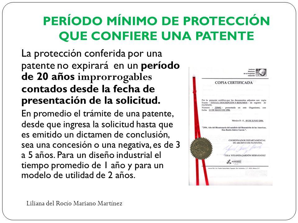 PERÍODO MÍNIMO DE PROTECCIÓN QUE CONFIERE UNA PATENTE