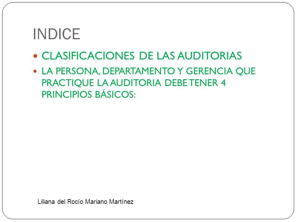 INDICE CLASIFICACIONES DE LAS AUDITORIAS
