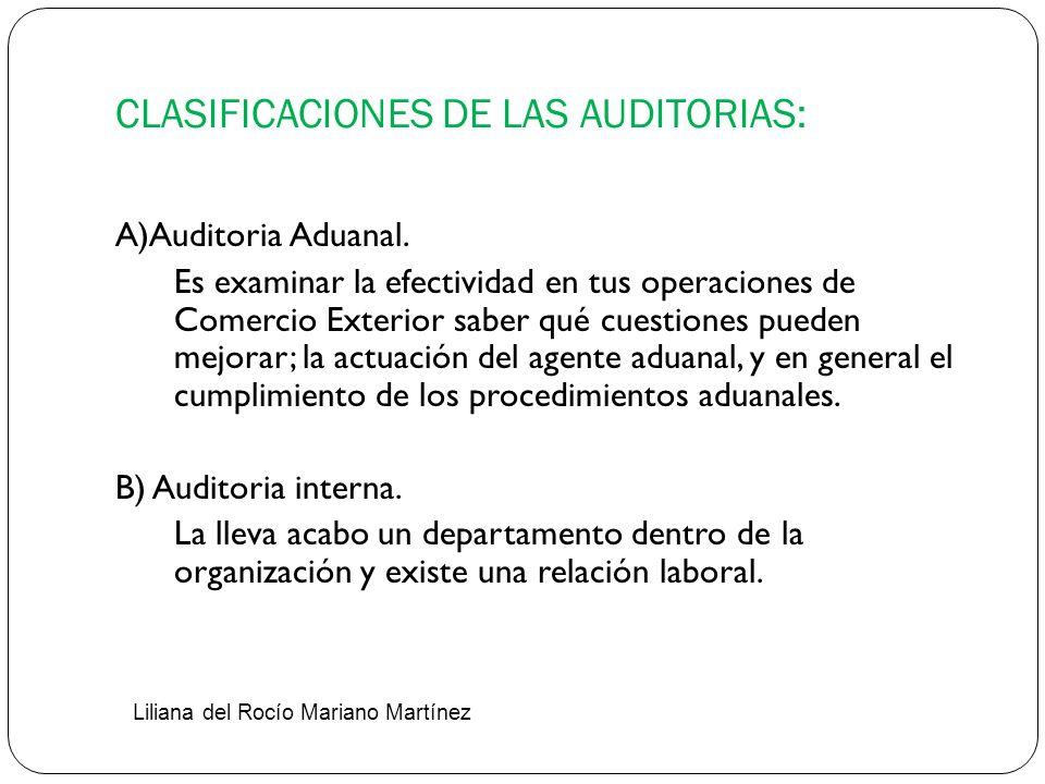 CLASIFICACIONES DE LAS AUDITORIAS: