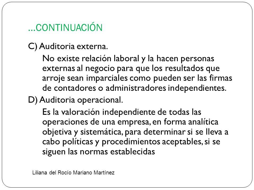 …CONTINUACIÓN C) Auditoria externa.