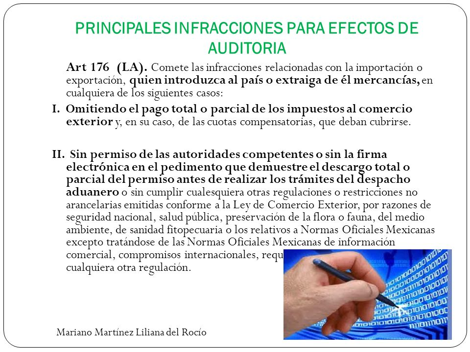 PRINCIPALES INFRACCIONES PARA EFECTOS DE AUDITORIA