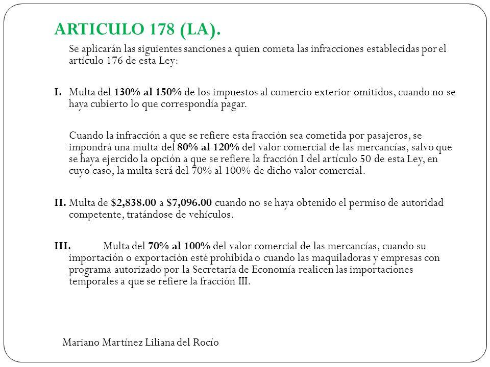 ARTICULO 178 (LA). Se aplicarán las siguientes sanciones a quien cometa las infracciones establecidas por el artículo 176 de esta Ley: