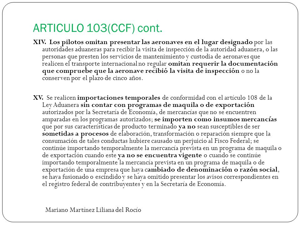 ARTICULO 103(CCF) cont.