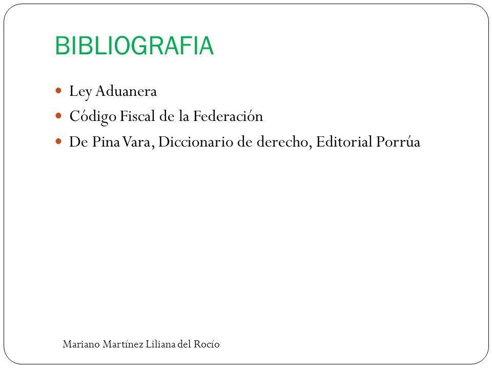BIBLIOGRAFIA Ley Aduanera Código Fiscal de la Federación