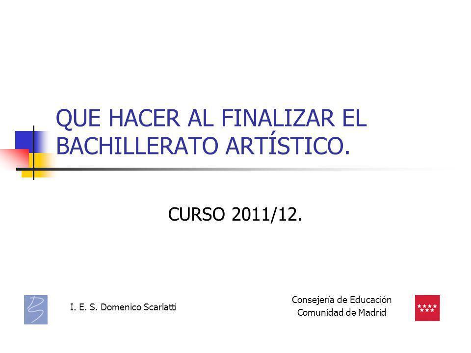 QUE HACER AL FINALIZAR EL BACHILLERATO ARTÍSTICO.