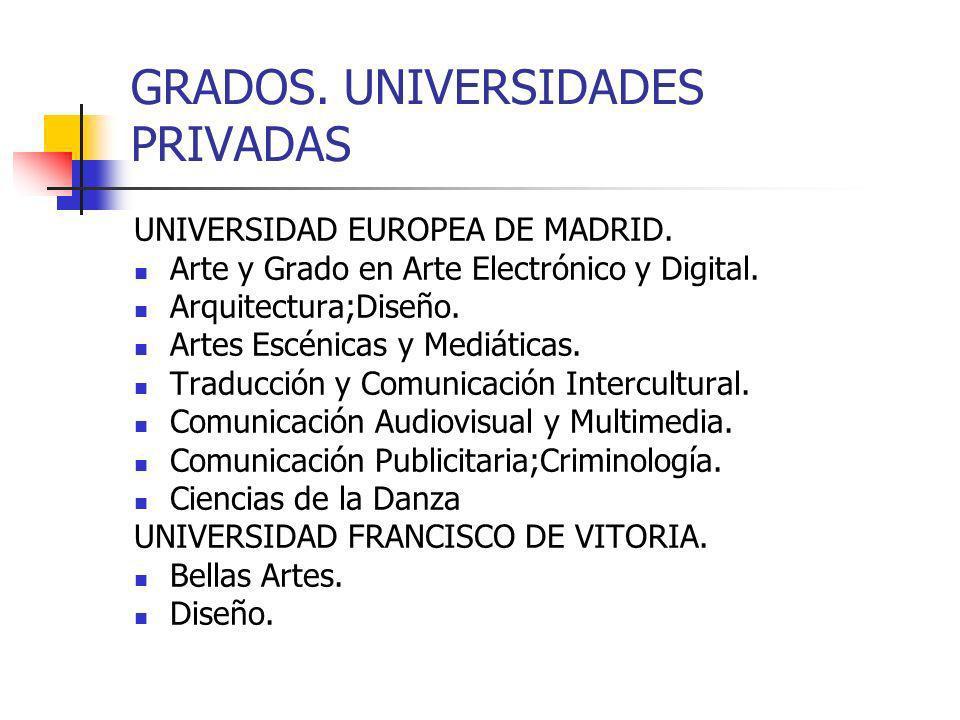 GRADOS. UNIVERSIDADES PRIVADAS
