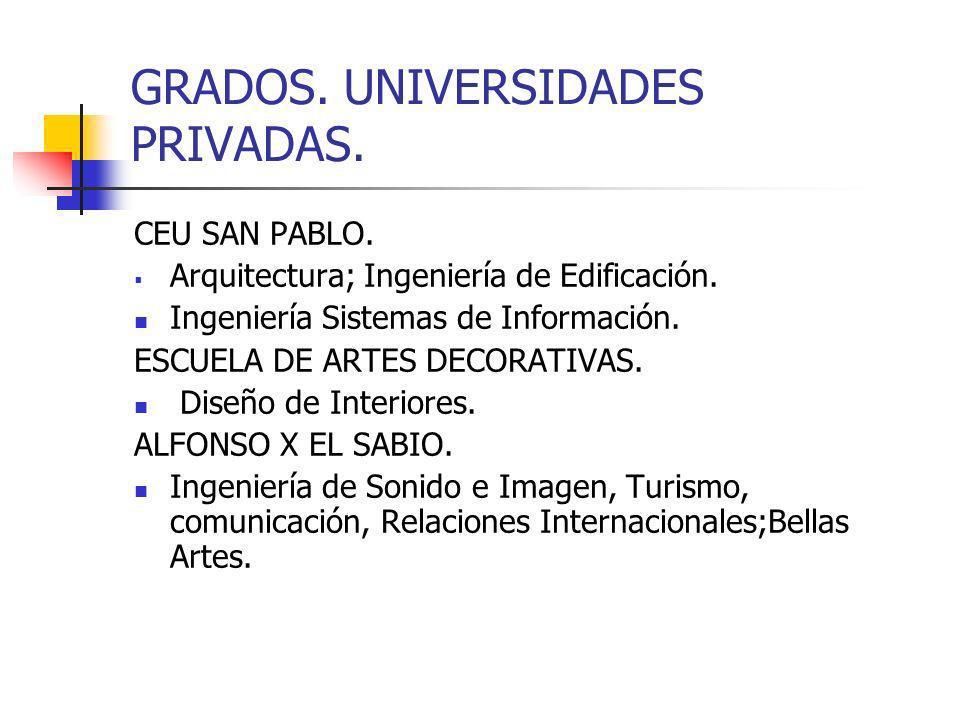 GRADOS. UNIVERSIDADES PRIVADAS.