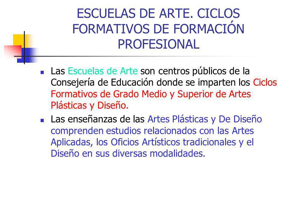 ESCUELAS DE ARTE. CICLOS FORMATIVOS DE FORMACIÓN PROFESIONAL
