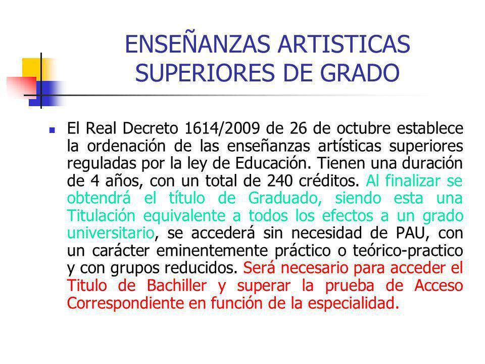 ENSEÑANZAS ARTISTICAS SUPERIORES DE GRADO