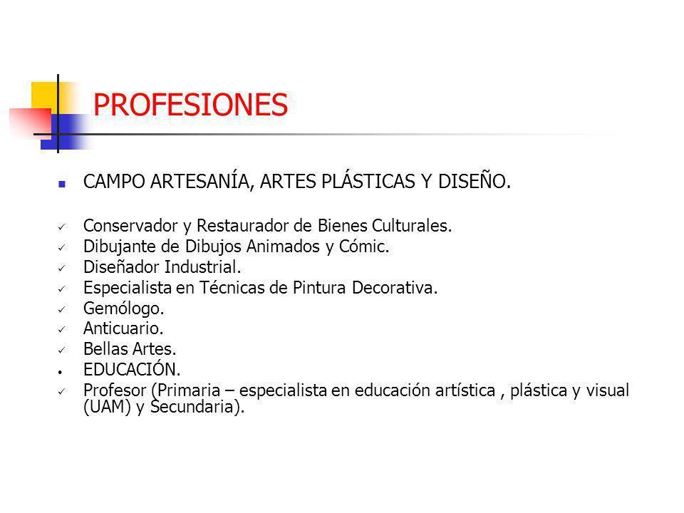 PROFESIONES CAMPO ARTESANÍA, ARTES PLÁSTICAS Y DISEÑO.