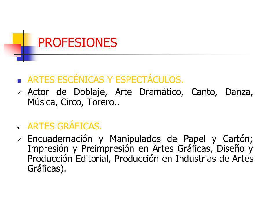 PROFESIONES ARTES ESCÉNICAS Y ESPECTÁCULOS.