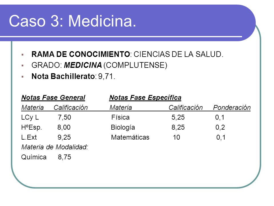 Caso 3: Medicina. RAMA DE CONOCIMIENTO: CIENCIAS DE LA SALUD.