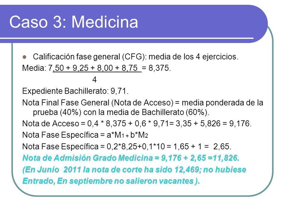 Caso 3: Medicina Calificación fase general (CFG): media de los 4 ejercicios. Media: 7,50 + 9,25 + 8,00 + 8,75 = 8,375.