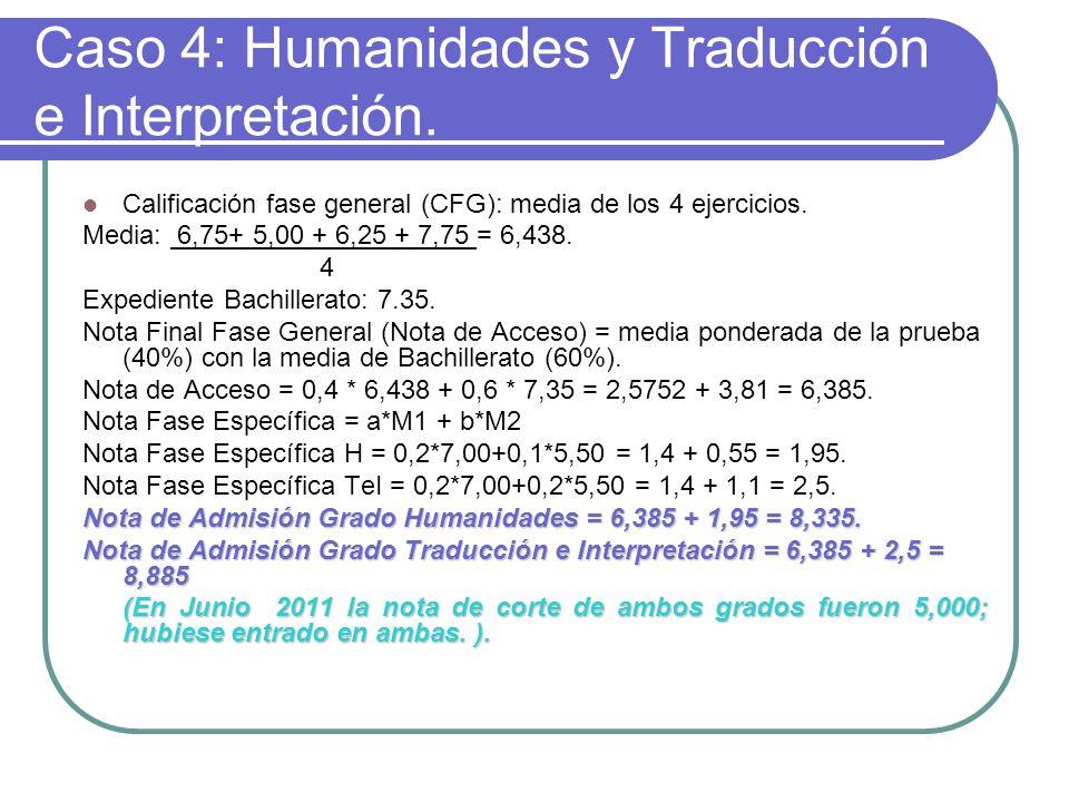 Caso 4: Humanidades y Traducción e Interpretación.