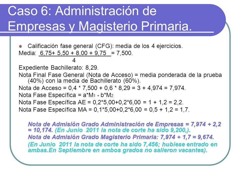 Caso 6: Administración de Empresas y Magisterio Primaria.