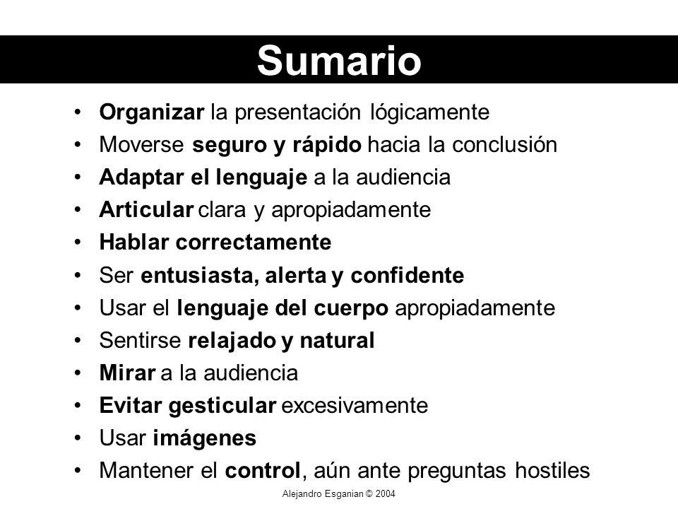 Sumario Organizar la presentación lógicamente